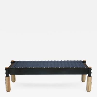 Laylo Studio BASSO Ash Leather and Steel bench by Laylo Studio