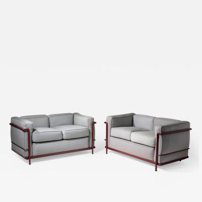 Le Corbusier Jeanneret Perriand Pair of LC2 Settees by Le Corbusier Jeanneret and Perriand for Cassina