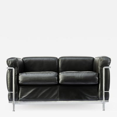 Le Corbusier Jeanneret Perriand Pair of LC2 Two Seats Sofas by Le Corbusier edited by Cassina