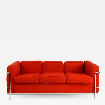 Le Corbusier LC2 3 seats sofa Le Corbusier by Cassina signed and trademark 100 original