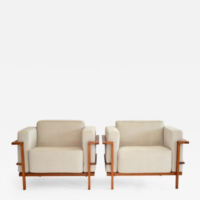 Le Corbusier Pair of Open Framed Teak Lounge Chairs after Le Corbusier