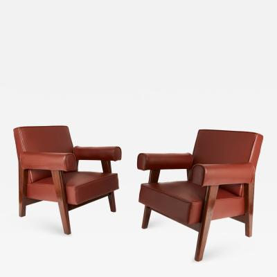 Le Corbusier Rare Set of Advocate Armchairs by Le Corbusier and Pierre Jeanneret PJ SI 42 A