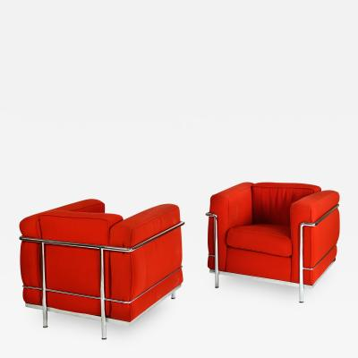 Le Corbusier pair of LC2 armchair signed and trademark impressed original