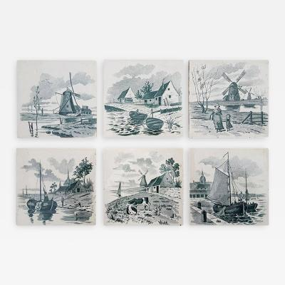 Le Glaive Set of 6 of Total 120 Dutch Dark Green Glazed Ceramic Tiles by Le Glaive 1930