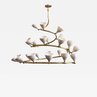 Le Lampade Brass Spiral Chandelier by Le Lampade