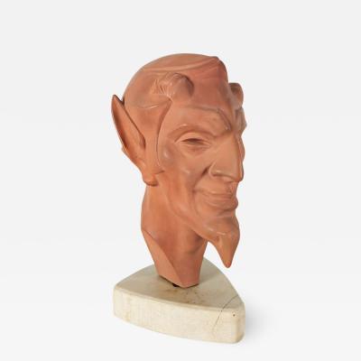 Le Verrier ART DECO FAUN S HEAD FRANCE 1930