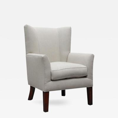 Lee Stanton Editions A Wing Chair with Reeded Legs Upholstered in Belgium Linen or Com