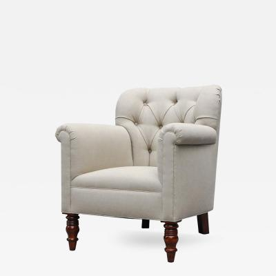 Lee Stanton Editions An Upholstered Chair in Belgium Linen or Com