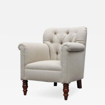 Lee Stanton Editions Geffrey Upholstered Chair in Belgian Linen