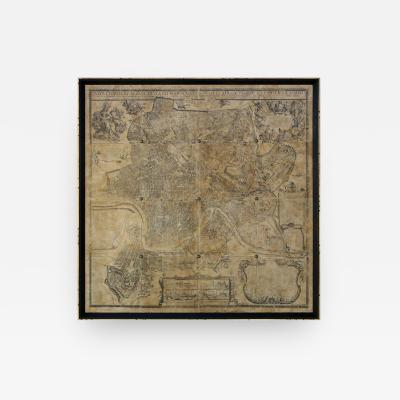 Lee Stanton Editions Reproduction of an Antique Map of Rome Mounted on Hand Crafted Venetian Panels