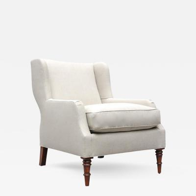 Lee Stanton Editions Selby Short Wing Chair Upholstered in Belgium Linen with Turned Legs or Com