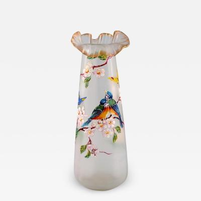 Legras Legras France Large vase with hand painted enamel decoration
