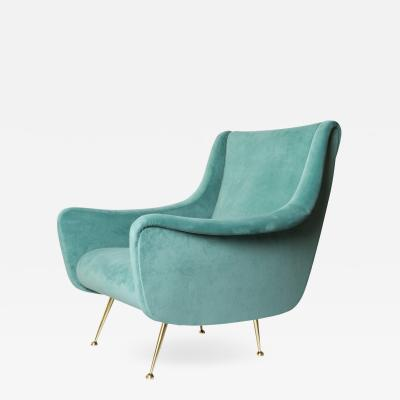 Lenzi Italian Mid Century Modern Upholstered Lounge Chair with Brass Legs by Lenzi