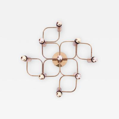 Leola Brass 9 Light Flush Mount Wall or Ceiling Lamp by Leola
