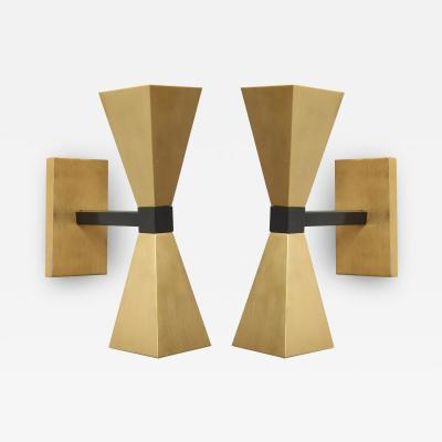 Lerebours Bespoke Pair of Custom Brass Sconces in the Style of Mid Century Modern