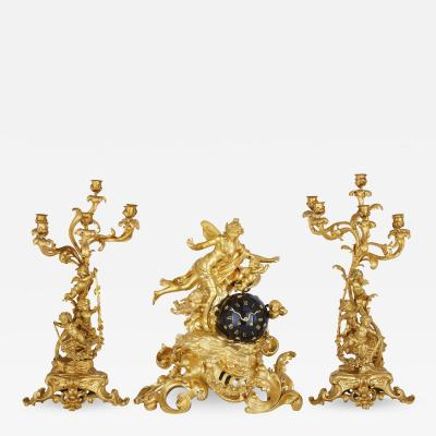 Lerolle Fr res Napoleon III period three piece gilt bronze clock set by Lerolle Fr res