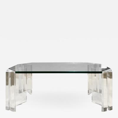 Les Prismatiques Les Prismatiques Sculptural Coffee Table in Lucite and Glass 1970s signed