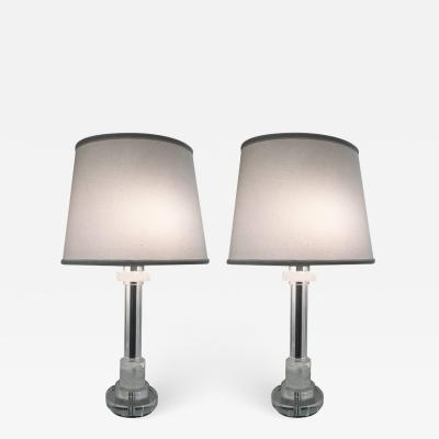 Les Prismatiques Pair of Les Prismatique Rock Crystal Crystal Mirrored Chrome Lamps