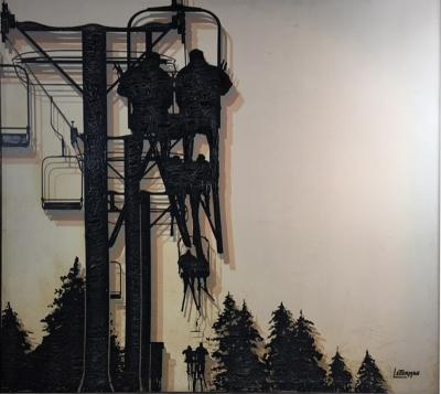 Letterman LARGE MODERN SKI LIFT PAINTING