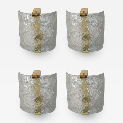 Leucos 4 Italian Mid Century Modern Murano Venetian Glass Sconces by Leucos