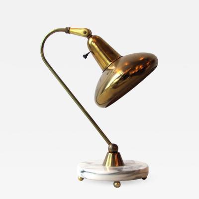 Lightolier Brass Marble Table Lamp by Lightolier