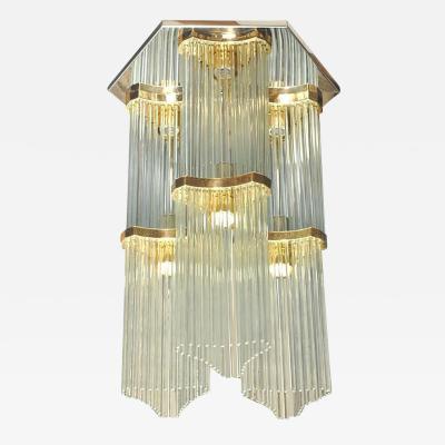 Lightolier Gaetano Sciolari for Lightolier Two Tiered Glass Rod and Brass Chandelier