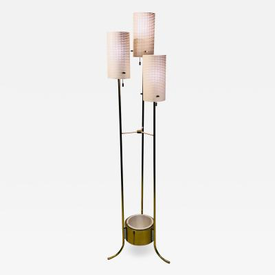 Lightolier LIGHTOLIER MODERNIST BRASS AND WHITE FLOOR LAMP