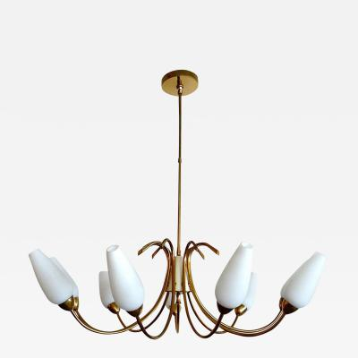 Lightolier Large Original 1952 Brass White Glass Chandelier by Lightolier