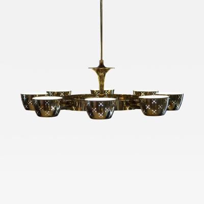 Lightolier Lightolier Chandelier after Gino Sarfatti in Perforated Brass and Frosted Glass