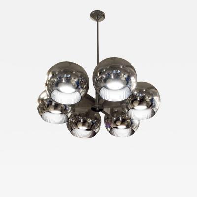Lightolier Lightolier Chandelier with 6 Spherical Lights 1960s