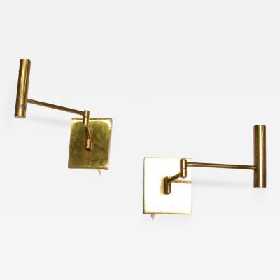 Lightolier Lightolier Modern Pair Brass Wall Sconces Articulating Arm Gerald Thurston 1960s