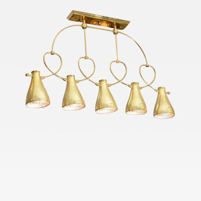 Lightolier MODERNIST MID CENTURY FIVE LIGHT BRASS CHANDELIER BY LIGHTOLIER