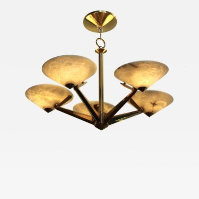 Lightolier Mid Century Modern Brass And Alabaster Chandelier By Lightolier