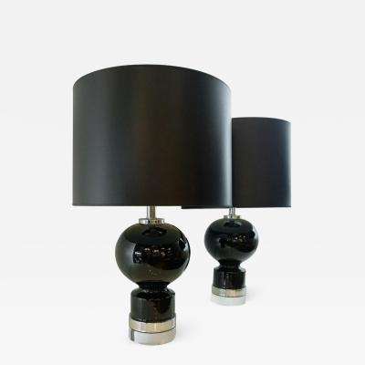 Lightolier Mid Century Modern Pair of Black Ceramic Table Lamps w Chrome Lucite Bases
