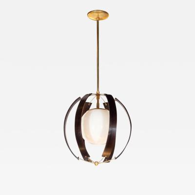 Lightolier Midcentury Ebonized Walnut Brass and Opaline Glass Chandelier by Lightolier