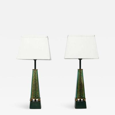 Lightolier Pair of 1940s Lightolier Emerald Green Glass Obelisk Lamps