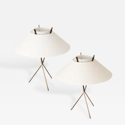 Lightolier Pair of Brass Tripod Base Lamps by Gerard Thurston for Lightolier