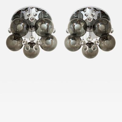 Lightolier Pair of Smoke and Clear Glass Bubbles Chrome Flush Mount Chandelier Lights