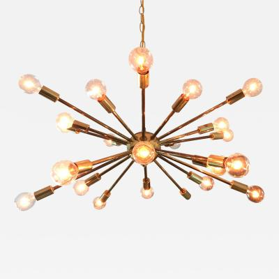 Lightolier Vintage American Midcentury Brass Sputnik Chandelier