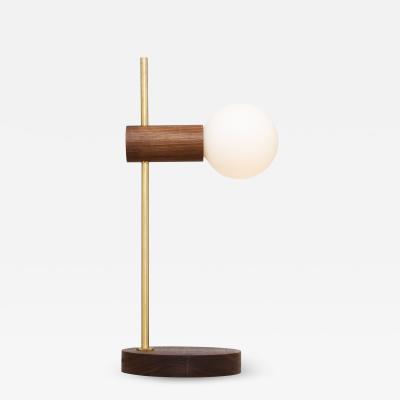 Lights of London Stem Brass and Walnut Table Lamp Sphere II Dim to Warm Bulbs Lighting