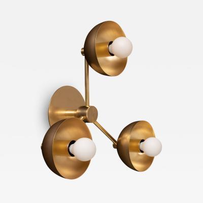 Lights of London Triple Brass Dome Wall Sconce Tala Porcelain Lighting Fixture