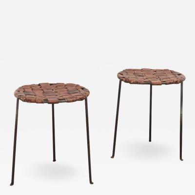 Lila Swift Donald Monell Swift and Monell Woven Leather Iron Stools
