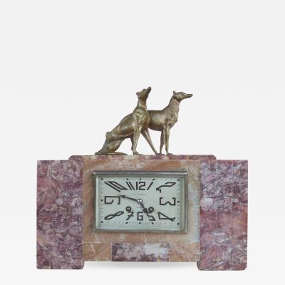 Limoges French Art Deco Mantel Clock with Bronze Dogs by Rene Neuhaus for Limoges