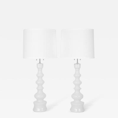 Lindshammar Tall White Glass Table Lamps by Lindshammar