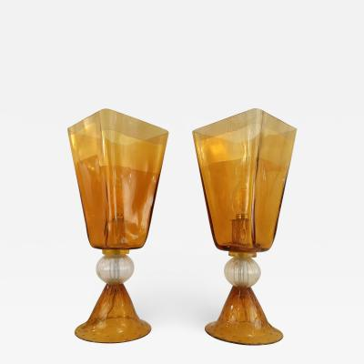 Linea Padovan Linea Padovan 1970s Vintage Pair of Amber Gold and Crystal Murano Glass Lamps