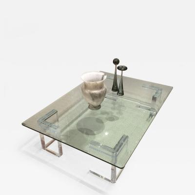 Lion in Frost American Post War Design Resin and Glass Rectangular Coffee Table
