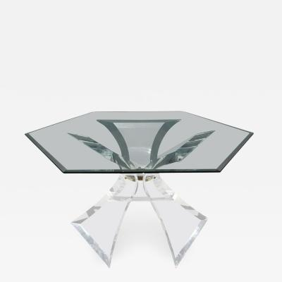 Lion in Frost Hexagon Lucite Dining Table by Lion in Frost