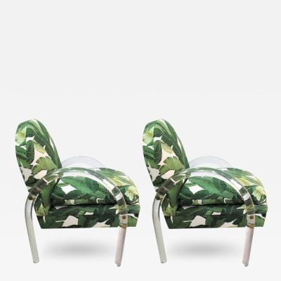 Lion in Frost Pair of Lucite Armchairs by Lion in Frost with Banana Leaf Upholstery