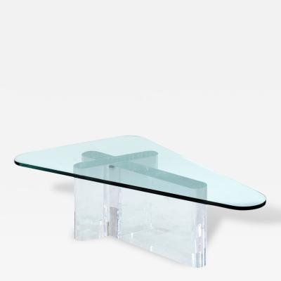 Lion in Frost Sculptural Coffee Table in Thick Lucite with Glass Top by Lion in Frost