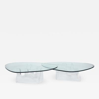 Lion in Frost Sculptural Pair of Free Form Coffee Tables in Lucite with Glass Tops 1970s